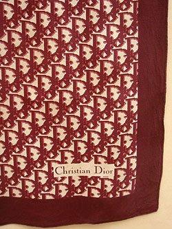 """画像1: """"Dior"""" burgundy monogram scarf"""