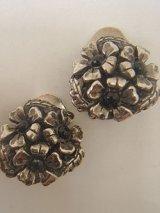 silver plate flower earring
