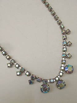 画像1: rhinestone blue necklace