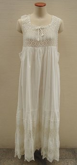 antique lace ribbon cotton long dress