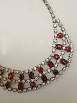 clear & red rhinestone necklace