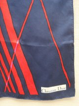 """Dior"" navy & red graphical scarf"