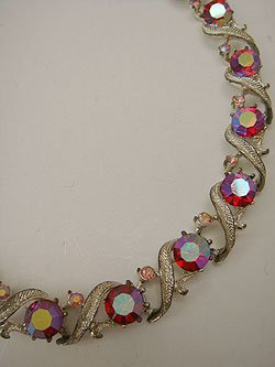 画像1: red rhinestone necklace