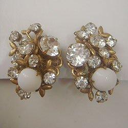 """画像1: """"MIRIAM HASKELL"""" gold rhinestone earring"""