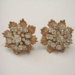 """画像1: """"MIRIAM HASKELL"""" rhinestone flower earring"""