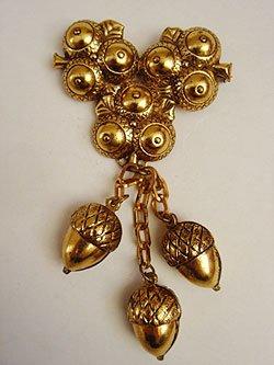 画像1: 30's acorn brooch