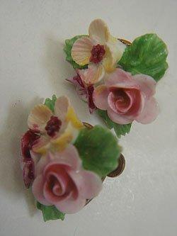 画像1: UK ceramic pink flower earring