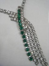 clear/green rhinestone necklace