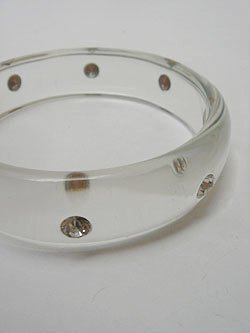 画像1: lucite rhinestone bangle