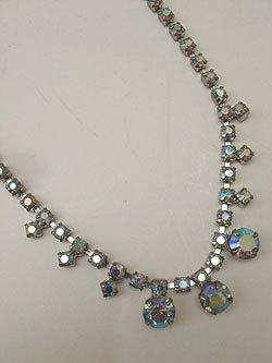 画像1: rhinestone blue necklace