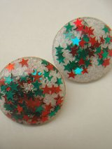 50's lucite star lame earring
