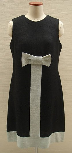 画像1: black & gray ribbon dress
