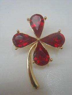 画像1: red rhinestone clover brooch
