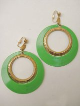 green & gold hoop earring