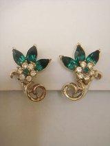 """Coro"" green rhinestone earring"
