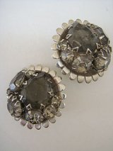silver & gray rhinestone earring