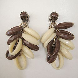 画像1: brown & off white earring