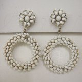 """MIRIAM HASKELL"" white beads circle earring"
