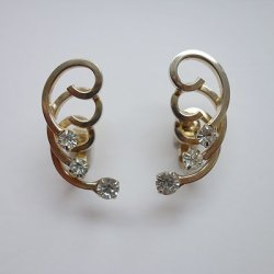 画像1: gold wire and rhinestone earring