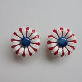 1960's tricolore flower earring