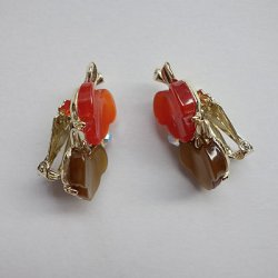 画像4: scarlet and brown leaf earring