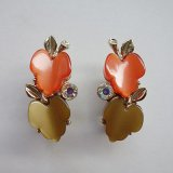 scarlet and brown leaf earring