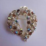 rhinestone heart brooch