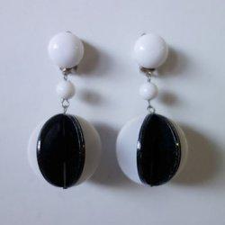 画像1: 1960's monotone circle earring