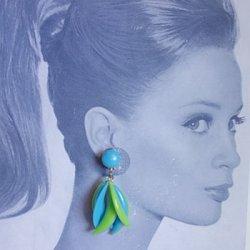 画像2: 1960's blue and green crescent earring