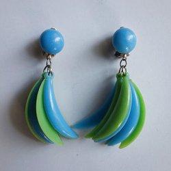 画像1: 1960's blue and green crescent earring