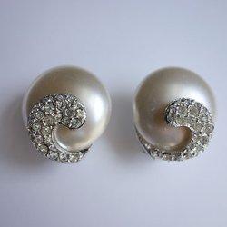 画像1: pearl & ruinestone earring
