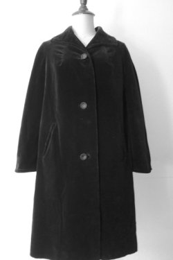 画像1: black cotton velour coat