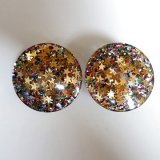 1950's big lucite lame earring